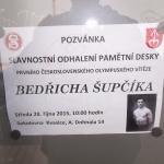 Odhalení pamětní tabule Bedřicha Šupčíka ve Kvasicích - pozvánka
